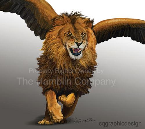 Lion beast with wings illustration